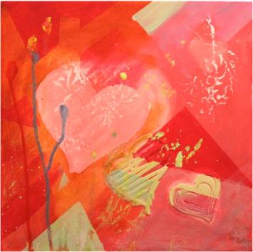 "Art to Heart Mixed Media on Canvas12"" x 12"" x 1.5""Wendy Carmichael-Bauld, Artist"